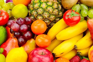 Collection juicy fruits and vegetabl