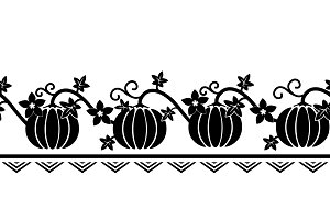 Seamless border pattern with pumpkin