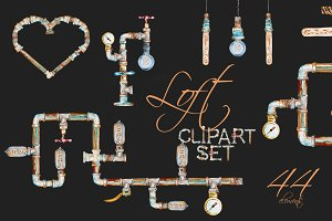 Watercolor Loft Clipart Set