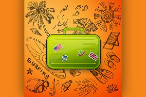 suitcase tourist and hand draw icon