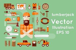 Lumberjack. Flat icons set. Banners.