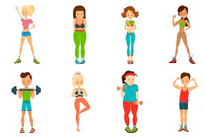 Healthy Lifestyle Vector People Set