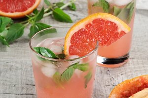 Cocktail of grapefruit, lemon basil
