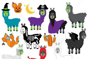 Halloween Llama Clipart and Vectors