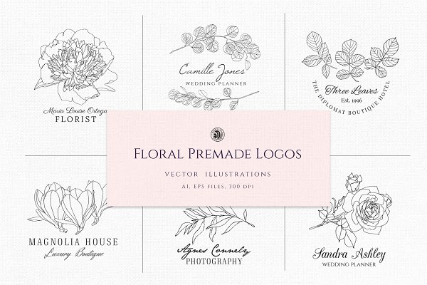 Logo Templates: Webvilla Design - Floral Premade Logos