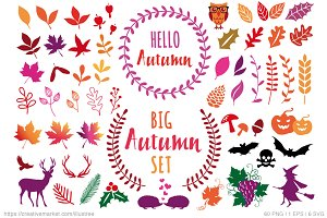 60 Autumn design elements, vector