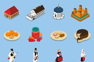 Hungary isometric touristic icons