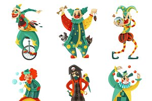 Funny circus clowns icons set