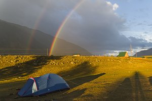 Double rainbow over the tourist camp