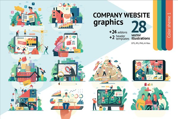 Web Elements: Grivina's shop - Company website vector Illustrations