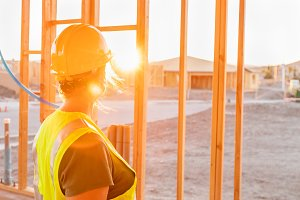 Female Construction Worker at Site