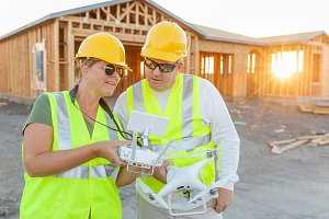 Workers with Drone Quadcopter