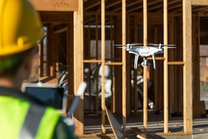 Female Pilot Flies Drone Quadcopter