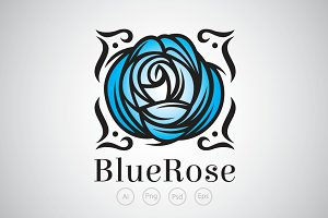 Blue Blossom Rose Logo Template