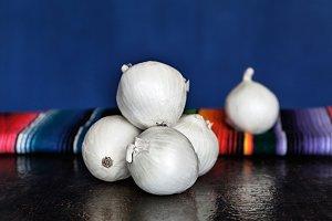 Bunch Of White Organic Onions