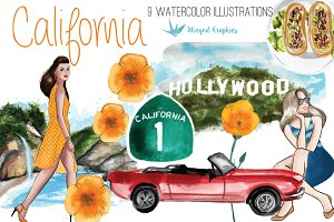California-watercolor illustrations