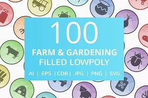 100 Farm & Gardening Low Poly Icons