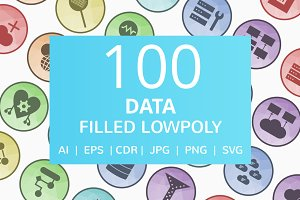 100 Data Filled Low Poly Icons