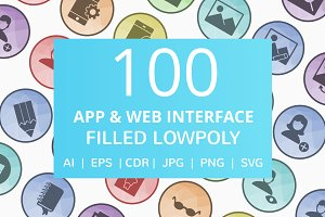 100 App & Web Interface Lowpoly Icon