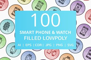 100 Smartphone & Smartwatch Icons