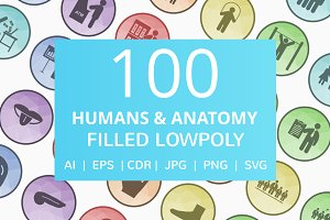 100 Humans & Anatomy Low Poly Icons