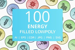 100 Energy Filled Low Poly Icons