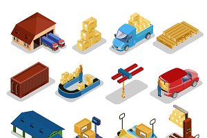 Isometric Warehouse Icons Collection