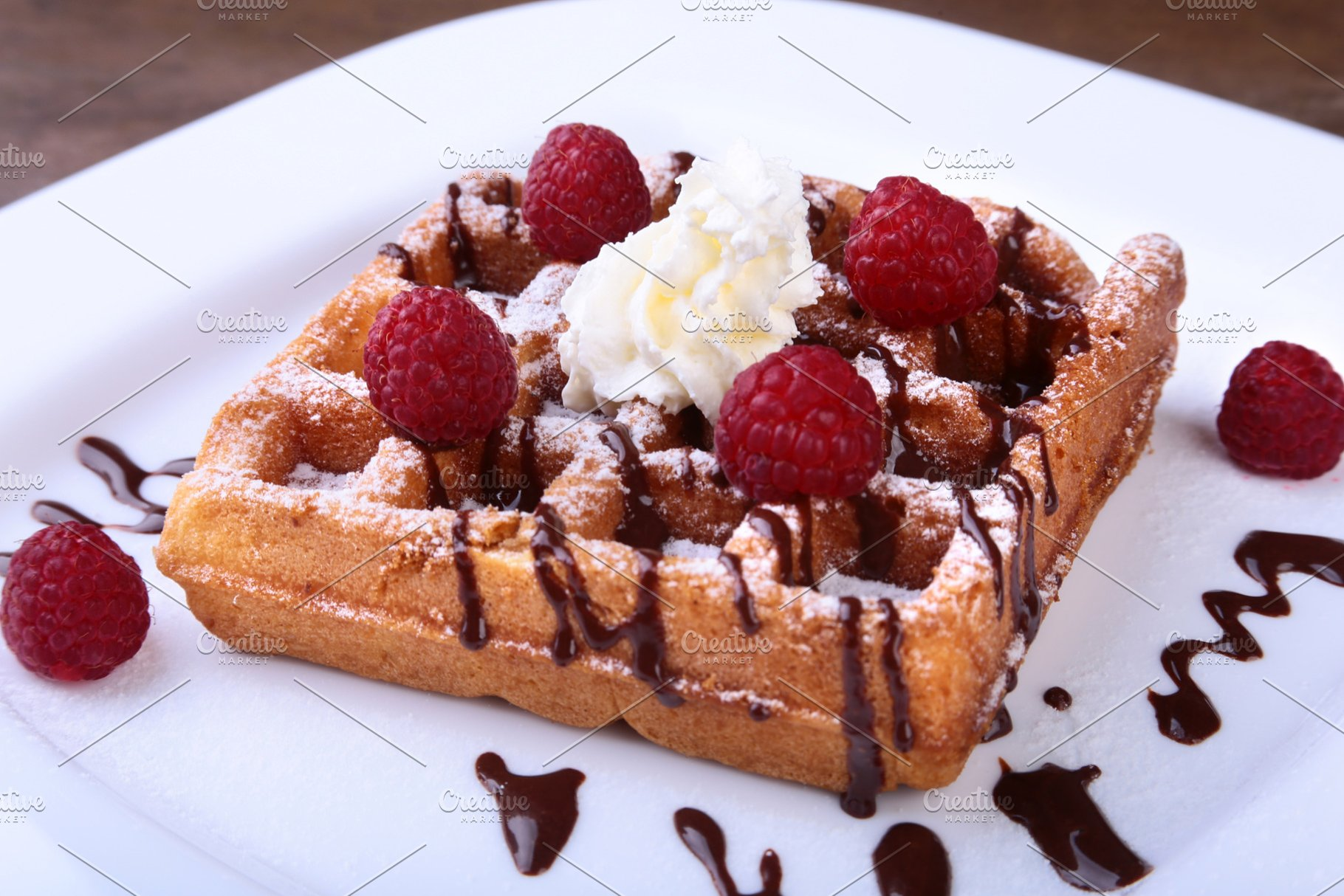 Closeup of homemade Belgian waffles