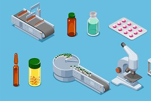 Isometric Pharmaceutical Icons Set