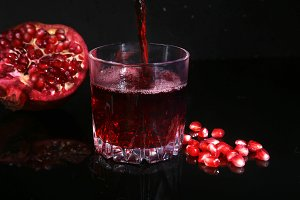 Glass with pomegranate juice