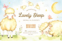 Lovely Sheep Watercolor Clip Art