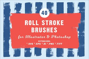 40 Roll Stroke Brushes for Ai & Ps