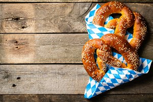 Oktoberfest concept - pretzels on