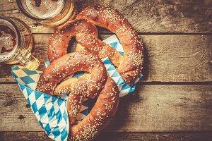 Oktoberfest concept - pretzels and