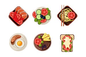 Tasty healthy dishes from different