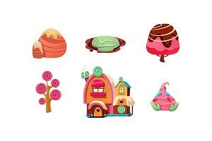 Sweet candy land, cute cartoon