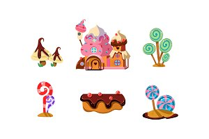Sweet candy land, cute cartoon
