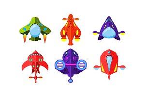 Colorful fantasy aircrafts set