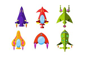 Fantasy aircrafts set, colorful