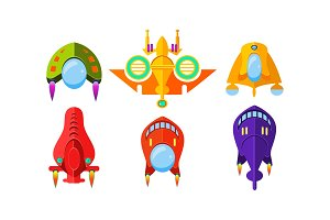 Colorful fantasy spaceships set