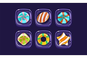 Glossy colorful shapes set, sweet