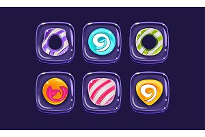 Glossy colorful shapes set, square