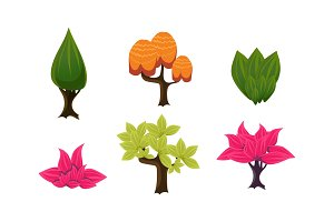 Summer trees set, cute cartoon