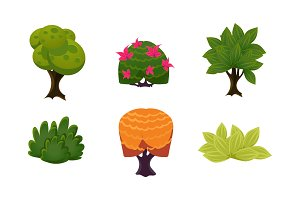 Summer plants set, cute cartoon