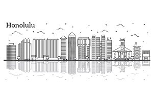 Outline Honolulu Hawaii City Skyline