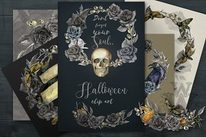 Watercolor Halloween compositions