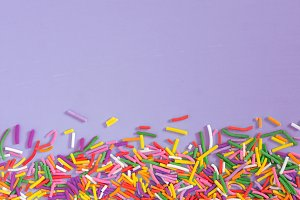 Border frame of colorful sprinkles