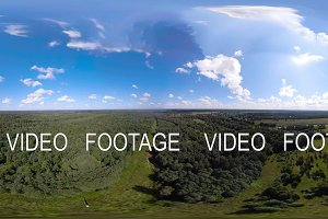 VR360 Flight over the green forest.