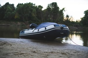 fisher inflatable motor boat on the