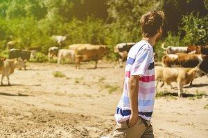 young male shepherd walking near the